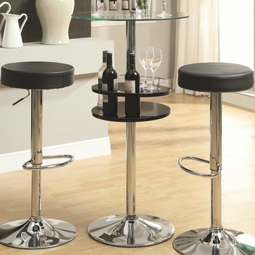 Black Bar Table with Tempered Glass Top and Wine Storage by Coaster 120715