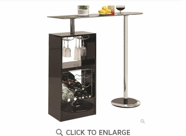 Black Bar Table with Wine Bottle Storage and Glass Top