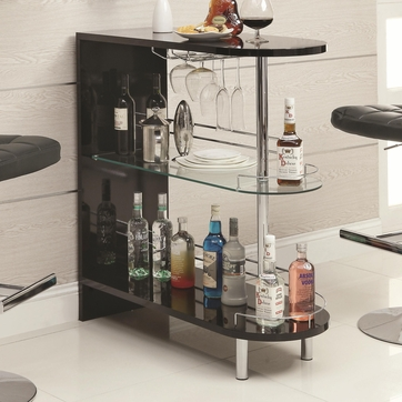 Black Bar Table with Wine Glass Holder and Glass Shelf