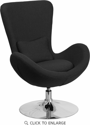 Black Fabric Egg Series Reception-Lounge-Side Chair [CH-162430-BK-FAB-GG]