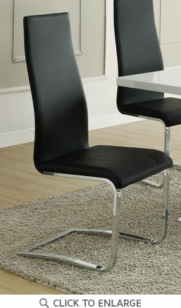Black Faux Leather Chrome Leg Dining Chairs by Coaster 100515BLK - Set of 4