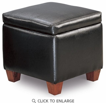 Black Faux Leather Storage Ottoman Footstool by Coaster - 500902
