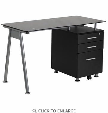 Black Glass Computer Desk with Three Drawer Pedestal [NAN-WK-021A-GG]
