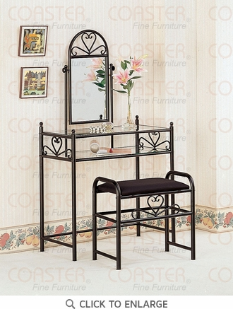 Black Heart Shaped Metal Make Up Vanity and Stool by Coaster - 2432