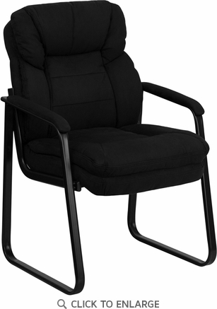 Black Leather Executive Side Chair with Sled Base [GO-1156-BK-LEA-GG]