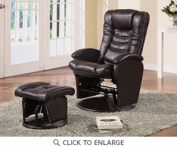 Black Leather Like Vinyl Glider Recliner with Ottoman by Coaster - 600165