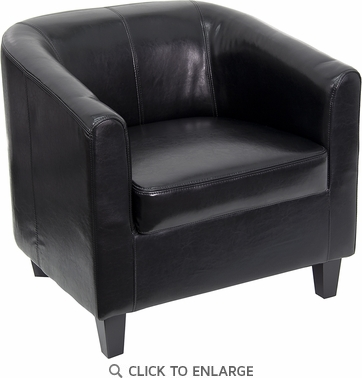 Black Leather Office Guest Chair / Reception Chair [BT-873-BK-GG]