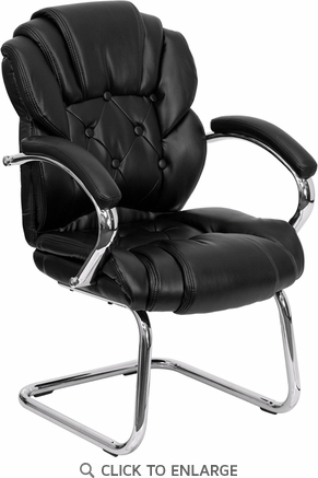 Black Leather Transitional Side Chair with Padded Arms and Sled Base [GO-908V-BK-SIDE-GG]
