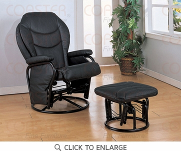 Black Leatherette Glider Recliner with Ottoman by Coaster - 2946