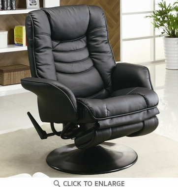 Black Leatherette Swivel Chaise Recliner