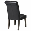 Black Leatherette Upholstered Dining Side Chair - Set of 2