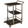 Black Metal and Glass Serving Cart with Wine Storage By Coaster