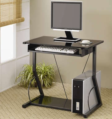 Black Metal Computer Desk with Keyboard Tray by Coaster - 800217