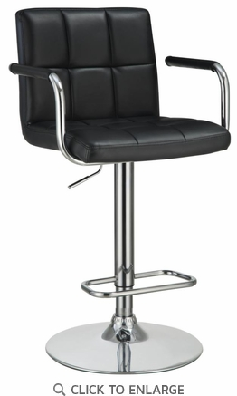 Black Upholstered Adjustable Swivel Bar Stool Chair by Coaster  121095