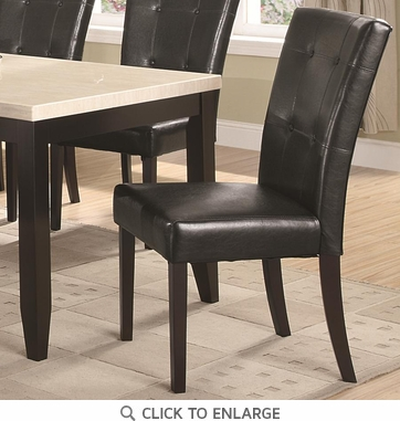 Black Vinyl Button Tufted Dining Chairs by Coaster 102772 - Set of 2