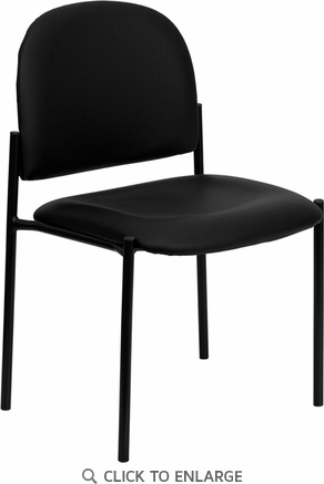 Black Vinyl Comfortable Stackable Steel Side Chair [BT-515-1-VINYL-GG]