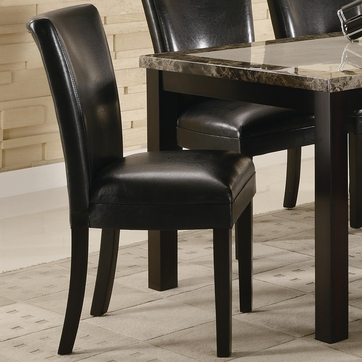 Black Vinyl Upholstered Parson Dining Chairs by Coaster 102262 - Set of 2