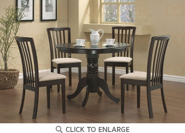 Brannan 5 Piece Round Dining Table and Chairs by Coaster 101081-101082