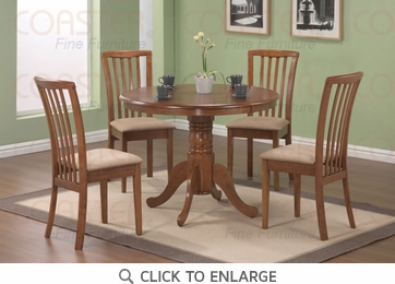 Brannan 5 Piece Round Dining Table and Chairs by Coaster 101091-101092