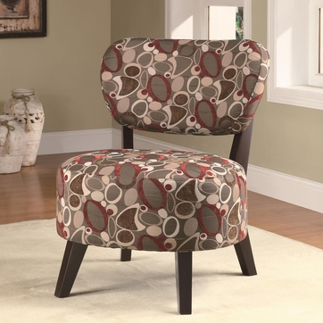 Brown Accent Lounge Chair with a Mult-Color Oblong Pattern by Coaster 900425