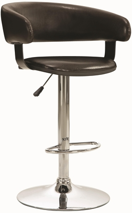 Brown and Chrome Adjustable Round Back Bar Stool Chair by Coaster 122095
