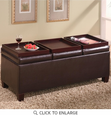 Brown Faux Leather Storage Ottoman Bench by Coaster - 501036