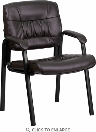 Brown Leather Guest / Reception Chair with Black Frame Finish [BT-1404-BN-GG]