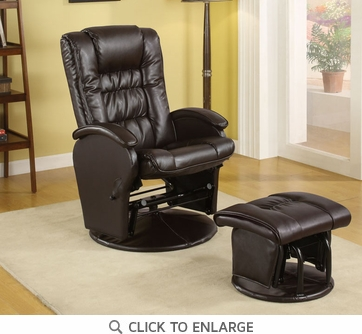 Brown Leather Like Vinyl Glider Recliner with Ottoman