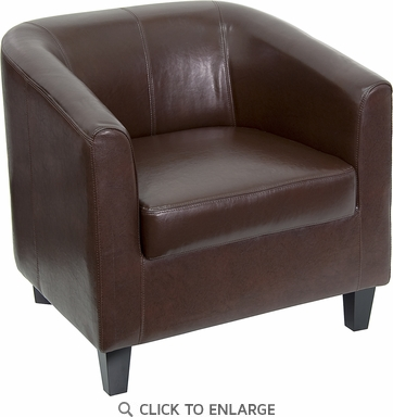 Brown Leather Office Guest Chair / Reception Chair [BT-873-BN-GG]