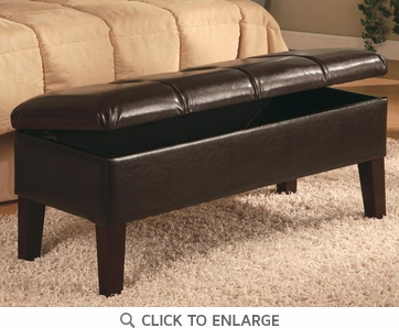 Brown Leather Upholstered Storage Bench by Coaster - 300358