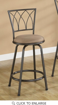 Brown Metal 24 Inch Counter Height Bar Stool (Set of 2) by Coaster - 122019