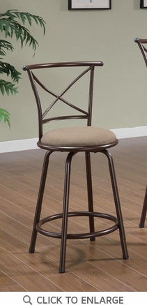 Brown Metal 24 Inch Counter Height Bar Stool (Set of 2) by Coaster - 122029