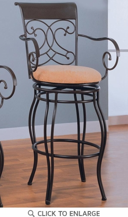 Brown Metal Bar Stool with Upholstered Seat by Coaster - 120019