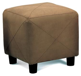 Brown Microfiber Cube Ottoman Footstool by Coaster - 500954
