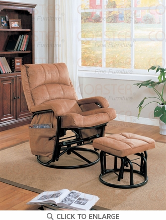 Brown Microfiber Glider Recliner with Ottoman by Coaster - 650005