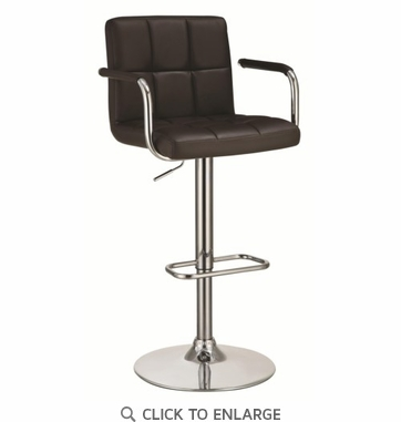 Brown Upholstered Adjustable Height Swivel Bar Stool Chair by Coaster 121099