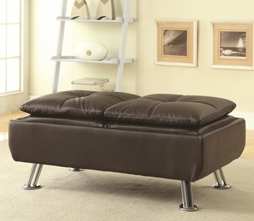 Brown Vinyl Soft-Topped Cocktail Ottoman with Chrome Legs by Coaster 300323