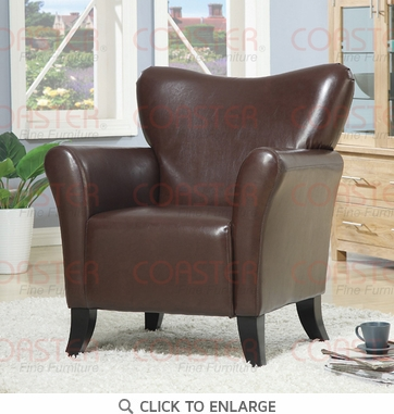 Brown Vinyl Upholstered Accent Arm Chair by Coaster - 900254