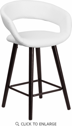 Brynn Series 24'' High Contemporary White Vinyl Counter Height Stool with Cappuccino Wood Frame [CH-152561-WH-VY-GG]