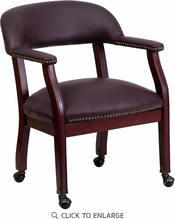 Burgundy Leather Conference Chair with Casters [B-Z100-LF19-LEA-GG]