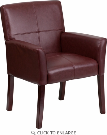 Burgundy Leather Executive Side Chair or Reception Chair with Mahogany Legs [BT-353-BURG-GG]