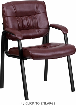 Burgundy Leather Guest / Reception Chair with Black Frame Finish [BT-1404-BURG-GG]