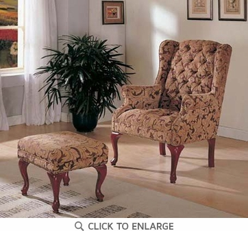 Button Tuft Accent Wing Chair and Ottoman by Coaster - 3932B