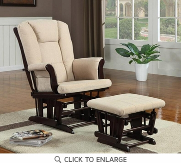 Cappuccino and Beige Microfiber Glider with Ottoman