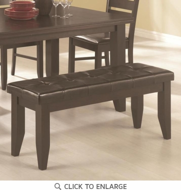 Cappuccino Finish Bench with Black Vinyl Cushion Seat  by Coaster 102723