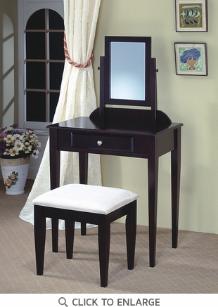 Cappuccino Finish Make Up Vanity and Stool