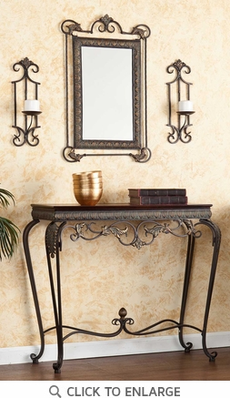 Capshaw Console Table with Mirror and Sconce Set by SEI