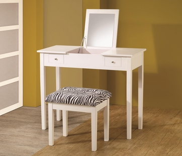 Casual White Finish Flip Top Style Vanity Table and Stool Set by Coaster 300285