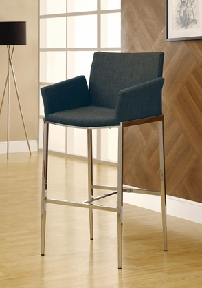 Charcoal Gray Linen Fabric Bar Stool and Chrome Leg by Coaster 120727 - Set of 2