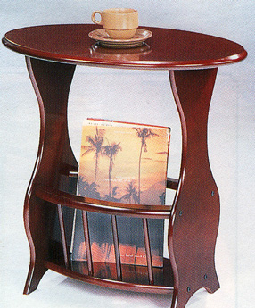 Cherry Finish Accent End Table with Magazine Rack by Coaster - 3054